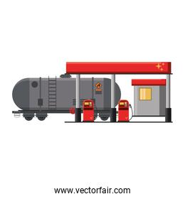 Fuel station with truck tank isolated
