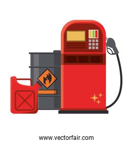 Fuel dispenser and can with oil barrel