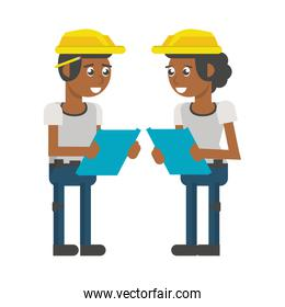 Construction workers with tools cartoons