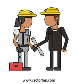 Construction workers with tools cartoons faceless