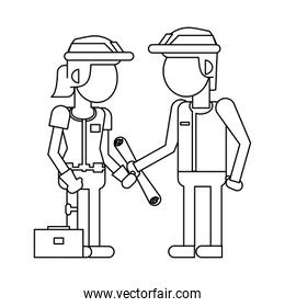 Construction workers with tools cartoons in black and white faceless