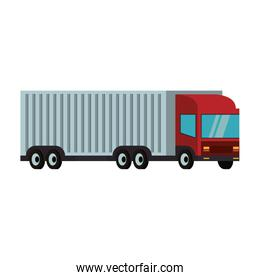 Cargo truck with container trailer isolated