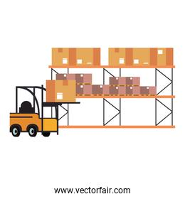 Warehouse and shipping forklift with cargo