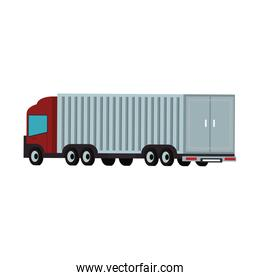 Cargo truck with container back view