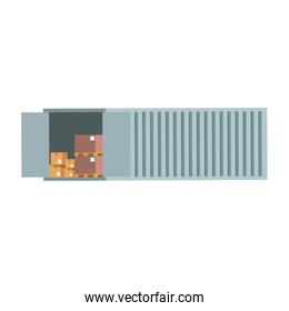 Container open with merchandise boxes