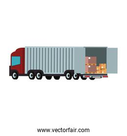 Cargo truck loaded with boxes