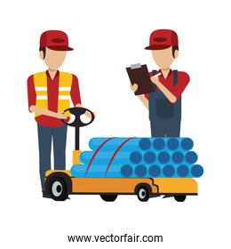 Warehouse workers with merchandise