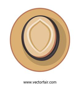 Summer hat topview fashion accesory isolated vector illustration