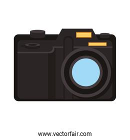 Modern photographic camera symbol isolated vector illustration