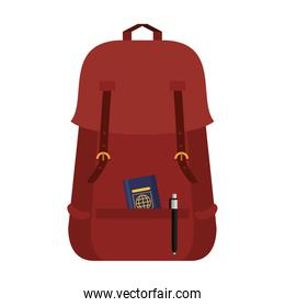 Backpack with passport and pen symbol vector illustration