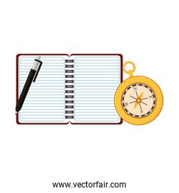 Navigation diary notebook with pen isolated vector illustration