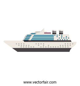 Cruise ship boat sideview isolated vector illustration