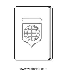 Passport travel document isolated symbol in black and white