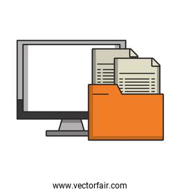 Computer with folder documents symbol