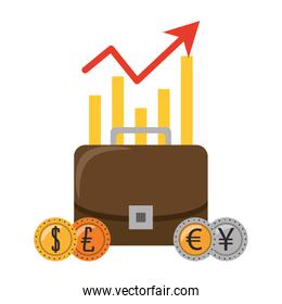 Business briefcase with euro dollar and yen coins