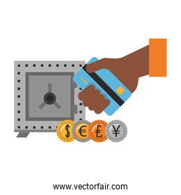 Strongbox and hand with credit card and coins