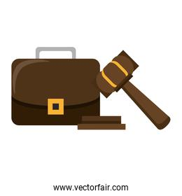 Justice gavel and briefcase symbols
