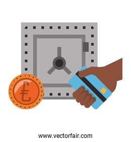 Strongbox with euro coin and hand holding credit card