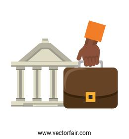 Bank building and hand with briefcase symbols
