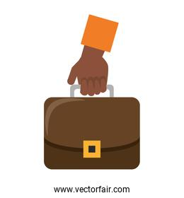Hand with business briefcase symbol isolated