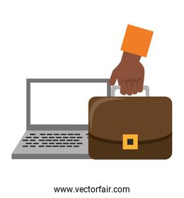 Laptop and hand with briefcase symbols