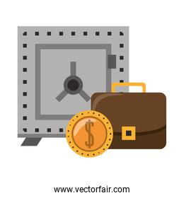 Strongbox with briefcase and coin symbols