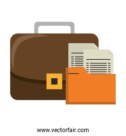 Business briefcase with documents symbols