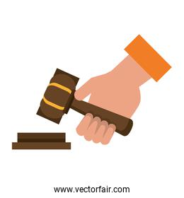 Justice hand with gavel cartoon isolated