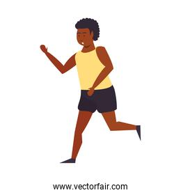 Fitness man running isolated cartoon