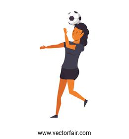 Woman playing with soccer ball isolated