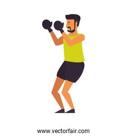 Fitness man training boxing with gloves