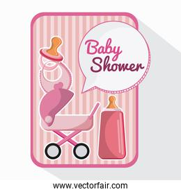 baby shower card with Bottle stroller and baby bib