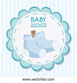 Baby sock inside flower seal stamp design