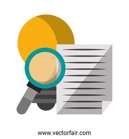 magnifying glass checking system cartoon