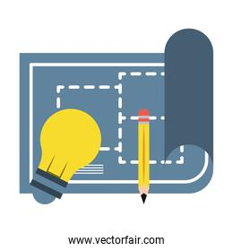 construction architectural project plan cartoon