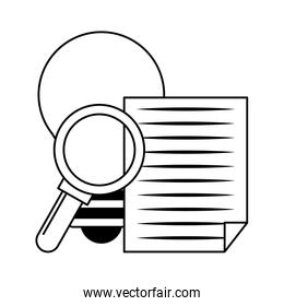 magnifying glass checking system cartoon in black and white