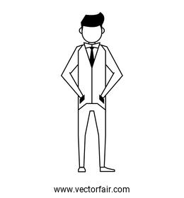 executive business finance man cartoon in black and white