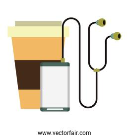 music player and coffee cup