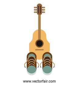 acoustic guitar and blue sneakers