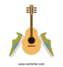acoustic guitar and green shoes  sneakers