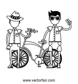 vintage bicycle and tourists boys in black and white