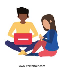faceless couple using technology devices cartoon