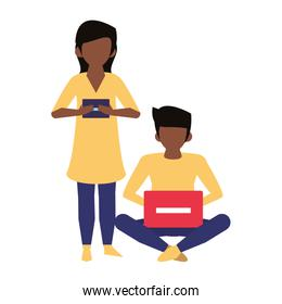 couple using technology devices cartoon