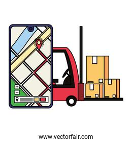 logistic and delivery shipping cartoon