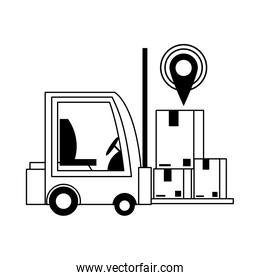 logistic and delivery shipping cartoon in black and white