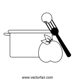 fruit fresh delicious healthy cartoon in black and white