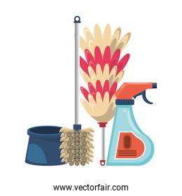 Set of cleaning equipment and products