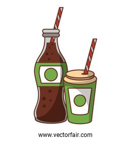 Cola soda bottle and cup to go with straw