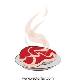 Barbecue beef steak grilled in dish cartoon