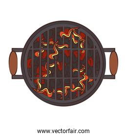Barbecue hot grill with flammes topview